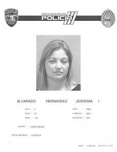 Ficha policíaca de Jessenia Alvarado Hernández (Suministrada).