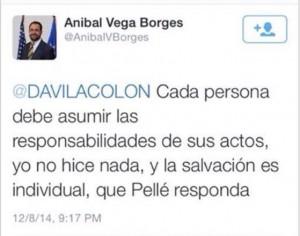 Expresión del alcalde Verga Borges en la red social Twitter sobre la acción de Santiago (Tomada de la pantalla).