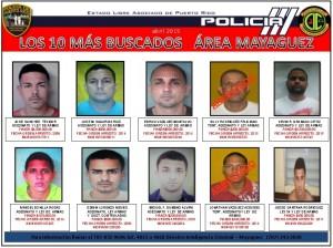 """Lista de los 10 más buscados en la región policíaca de Mayagüez. Haga """"click"""" sobre la imagen para agrandarla (Suministrada Policía)."""