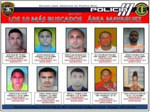 """Lista de los 10 más buscados. Faltan siete por arrestar. Haga """"click"""" para agrandar la imagen (Archivo)."""