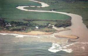 Desembocadura del río Culebrinas durante una crecida (Archivo).