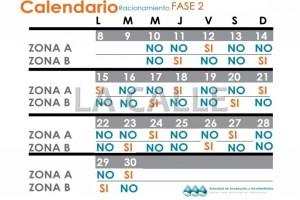 """Este es el calendario de racionamiento de agua para el área metropolitana. Haga """"click"""" sobre la imagen para agrandarla (Suministrado AAA)."""