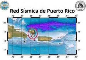 Mapa de actividad Sísmica en la región al norte del Canal de la Mona (Suministrado Red Sísmica de Puerto Rico).
