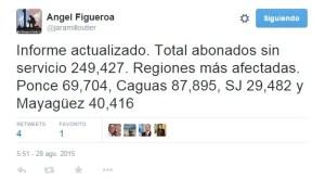 Mensaje de Twitter del presidente de la UTIER, Angel Figueroa Jaramillo (Captura de pantalla).