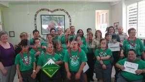 Grupo de jóvenes con Síndrome Down y sus consejeros de la Tropa 765 de los Boy Scouts (Suministrada Concilio Boy Scouts de Puerto Rico).