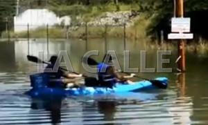 Captura de un vídeo tomado durante las inundaciones provocadas por el desbordamiento del lago Guajataca y el río Culebrinas en San Sebastián (Fotocaptura vídeo Municipio de San Sebastián).