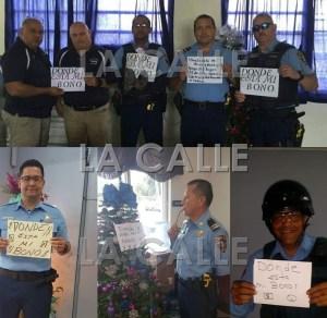 """Varias de las fotos publicadas en la red social Facebook, donde miembros de la Policía de Puerto Rico cuestionan """"Donde está su bono"""". Haga """"click"""" sobre la imagen para ampliarla (Fotomontaje LA CALLE Digital)."""