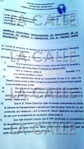 Primera página del documento de la querella (Suministrada).