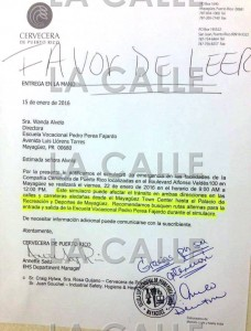 Carta enviada por la Cervecera de Puerto Rico a la dirección de la Escuela Vocacional Pedro Perea Fajardo.