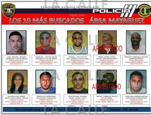 """Las fotos de los """"10 más buscados"""" por la Policía en el área de Mayagüez. Haga """"click"""" sobre la imagen para ampliarla (Suministrada Policía)."""