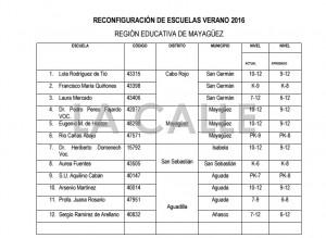 """Lista de escuelas reconfiguradas en el Oeste de Puerto Rico. Haga """"click"""" sobre la imagen para ampliarla (Suministrada Departamento de Educación)."""
