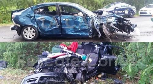 Vehículos involucrados en el accidente fatal ocurrido el domingo en la carretera 110 de Aguadilla (Fotos Rescate Cortés).