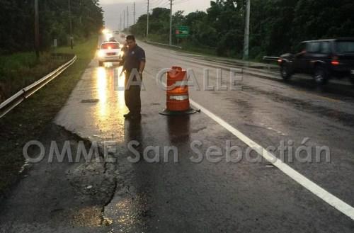 Uno de los tramos de la carretera PR-111 que está cediendo. (Suministrada OMME San Sebastián).