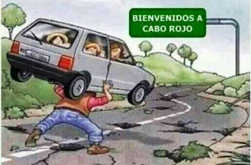 Caricatura que ha circulado en las redes sociales para dramatizar el problema en la carretera 102, entre San Germán y Cabo Rojo (Facebook).