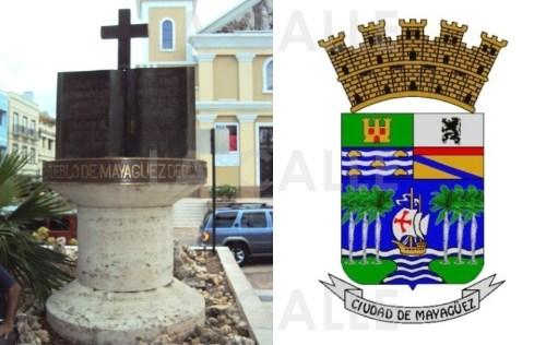 """Monumento a los Fundadores de Mayagüez, localizado en la Plaza de Colón y que marca el kilómetro """"cero"""" de los caminos que separaban el centro del poblado, de los barrios originales."""