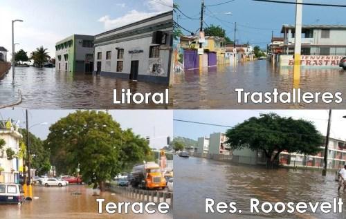 Sectores de Mayagüez inundados el sábado (Fotos Facebook/Miguel Santiago Irizarry).