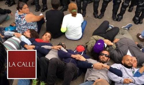 Varios de los manifestantes que fueron arrestados por la Policía en Peñuelas (Suministrada).