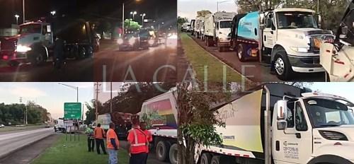 Varias escenas de la llegada el sábado en la madrugada de una flota de 57 camiones de la empresa ConWaste a Mayagüez (Capturas de pantalla/Vídeos).