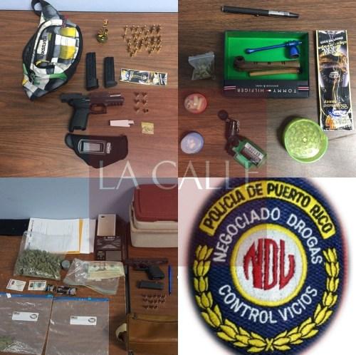 Drogas, armas y material confiscado durante transacción en el estacionamiento del restaurante Costa de Mayagüez (Suministradas/Policía).