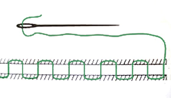 point de matelassier, Faden grün gefärbt