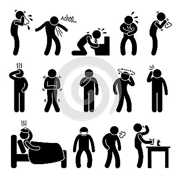 Piktogramm mit Symptomen