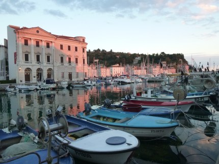 Piran harbour at sunset