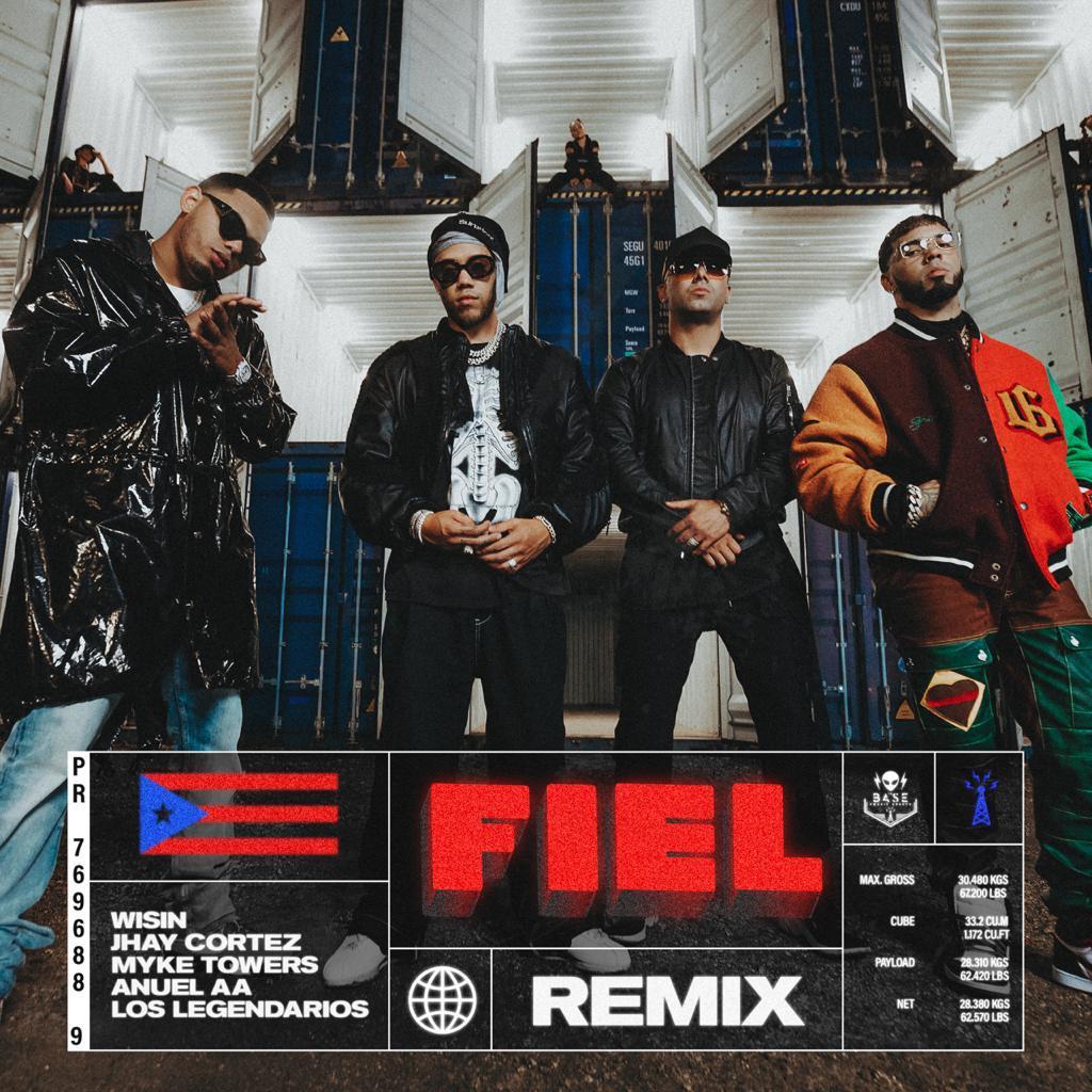 """""""Fiel Remix"""", la unión de Wisin, Jhay Cortez y Los Legendarios con Anuel AA y Myke Towers"""