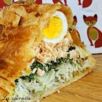 Koulibiak au saumon (et épinards et riz et œufs...)