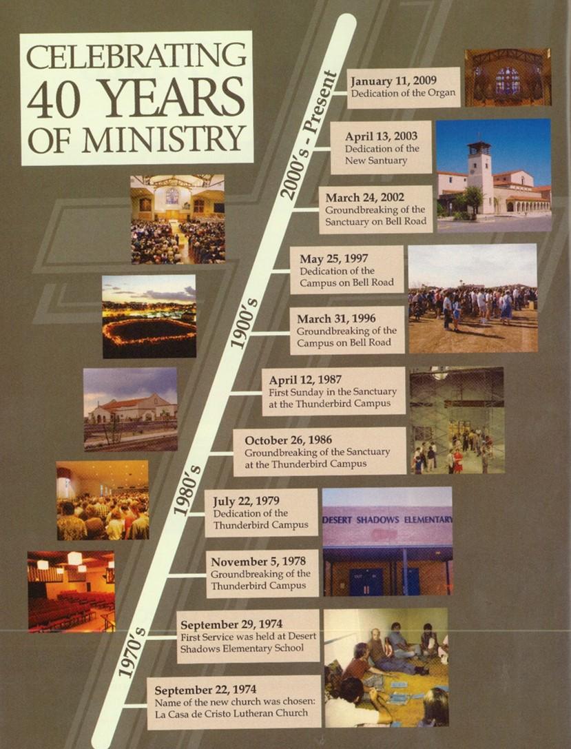 La Casa de Cristo Scottsdale, Arizona Lutheran Church Timeline