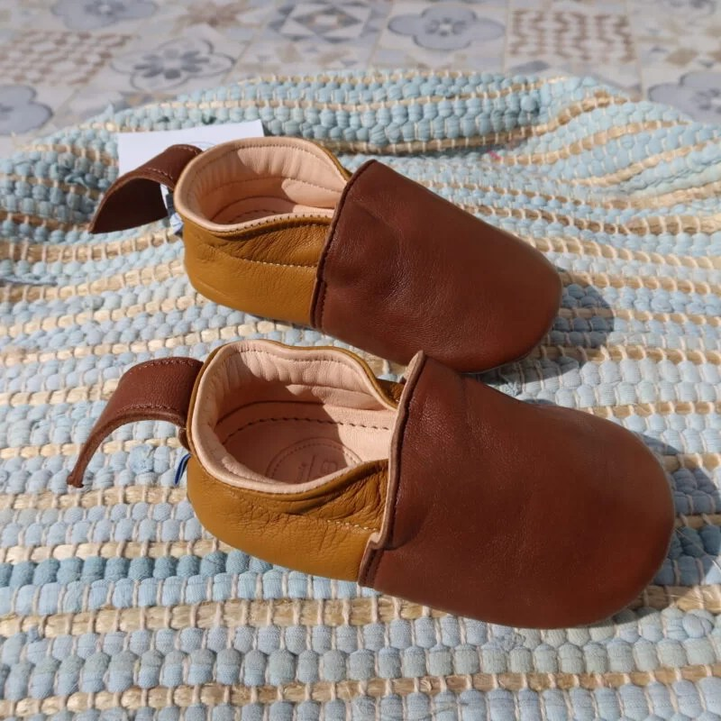 Chaussons cuir moutarde châtaigne Hob Feels Good