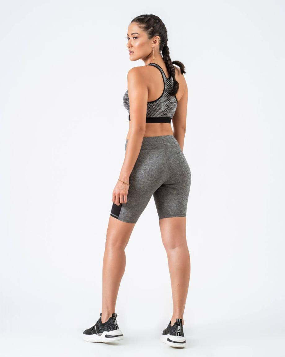 Leggins cortos deportivos gris claro