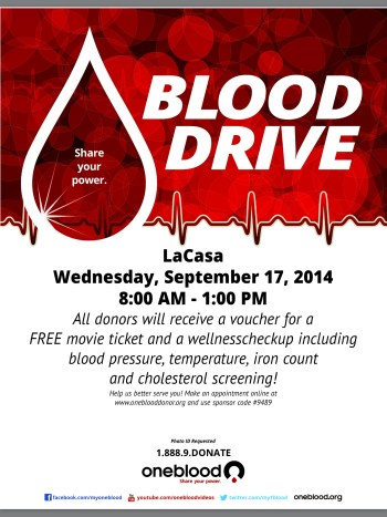 Blood Drive Sept. 2014