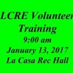 LCRE Volunteer Training – Jan 13, 2018