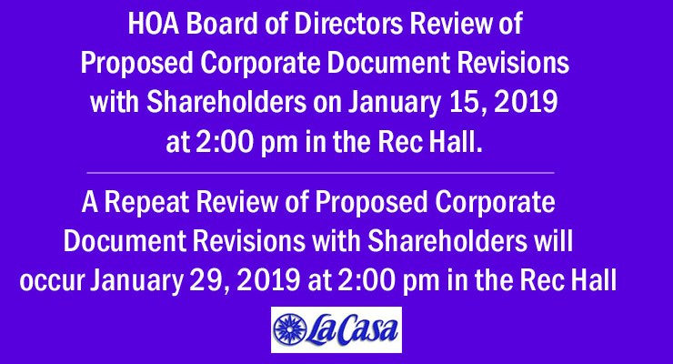HOA Corporate Document Review – Jan. 2019