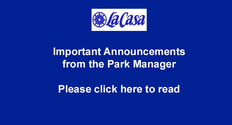 Important Announcements from the Park Manager – Jan 2020