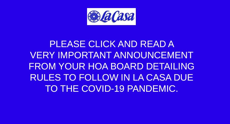 UPDATE ON LA CASA COVID RESTRICTIONS – SEPT. 28 2020