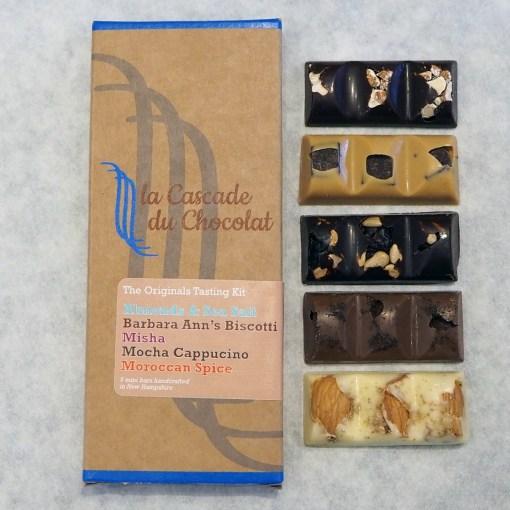 Selection of mini chocolate bars based on La Cascade du Chocolat's original flavors