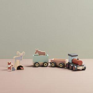 Train d'animaux en bois locomotive animaux