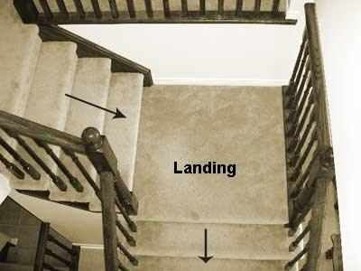 Stair Landings Installing Hardwood Flooring On Your Steps | Carpet Stairs Wooden Floor Landing | Oak | Red Striped | Center House | Wall To Wall Carpet | Bedroom