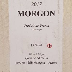 Morgon 2018 rouge de Corinne Gonin 5 litres