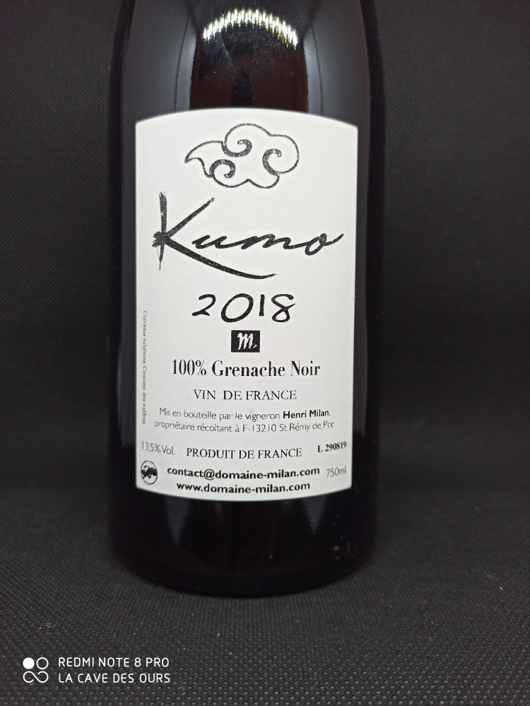 Kumo back label