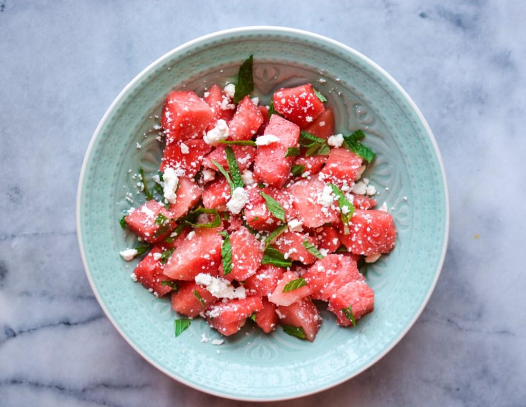 Easy Watermelon Mint Feta Salad - Recipe - @lacegraceblog1