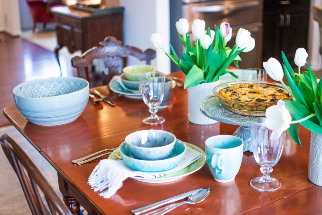5367ce193518 A Colorful Spring Tablescape and The Easiest Crustless Quiche