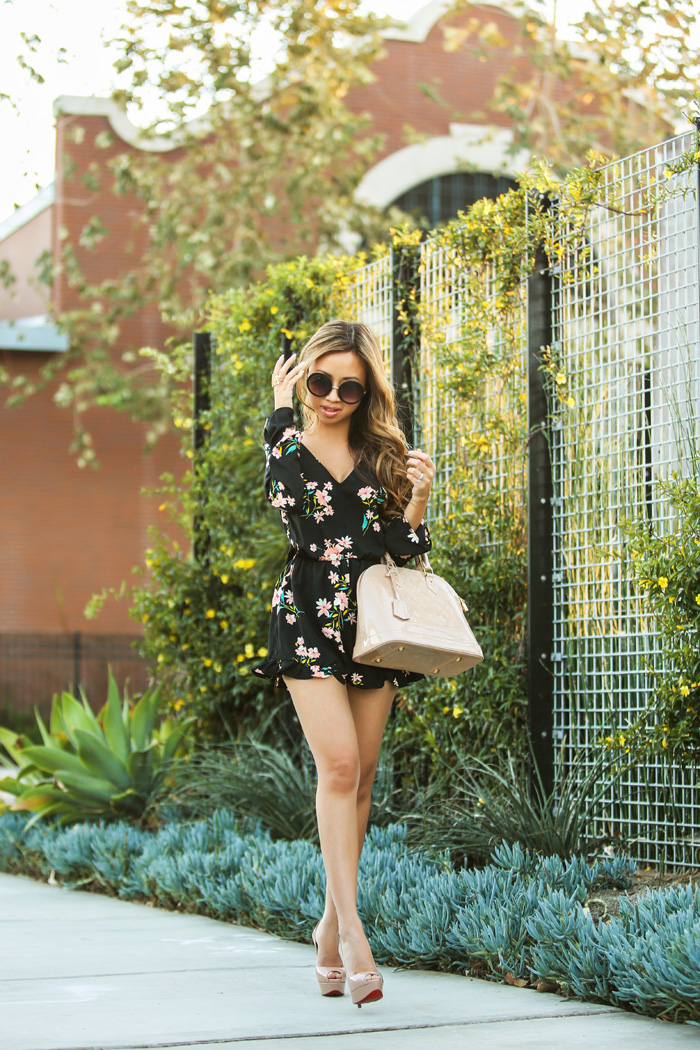 lace and locks petite fashion blog floral romper - 03