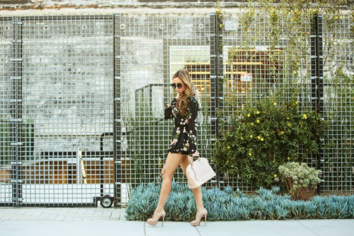 fashion blogger, floral romper, petite fashion blog, fashionista, lace and locks, los angeles fashion blogger, urban outfitters romper, outfit of the day, louis vuitton alma handbag