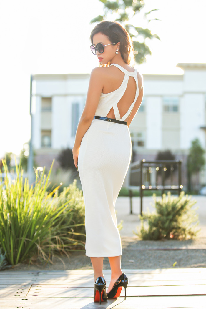 petite fashion blogger, petite fashion blog, fashionista, lace and locks, los angeles fashion blogger, charlotte russe dress, bodycon dress, white dress, 1930s hair, 1930s glamour, vintage look,  affordable fashion,streetstyle, ting makeup and hair