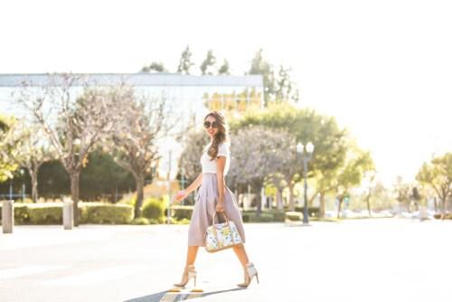 fashion blogger, petite fashion blog, fashionista, lace and locks, los angeles fashion blogger, spring fashion, summer fashion, hm skirt, midi skirt, feminine, girly style, kate spade handbag