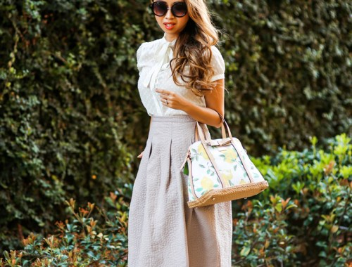 fashion blogger, petite fashion blog, fashionista, lace and locks, los angeles fashion blogger, spring fashion, summer fashion, hm skirt, midi skirt, feminine, girly style, kate spade handbag
