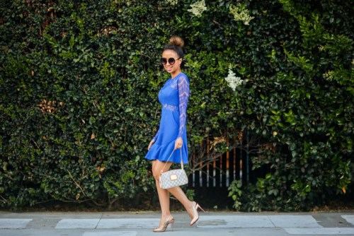 fashion blogger, petite fashion blog, fashionista, lace and locks, los angeles fashion blogger, cobalt blue lace dress, sheinside dress, lace dress, streetstyle, christian louboutin glitter, morning lavender boutique
