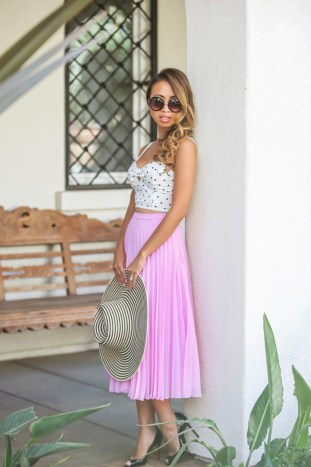 fashion blogger, petite fashion blog, fashionista, lace and locks, los angeles fashion blogger, pleated midi skirt, purple skirt, asos skirt, morning lavender boutique, summer hat, stripe hat, christian louboutin pumps, polka dot crop top